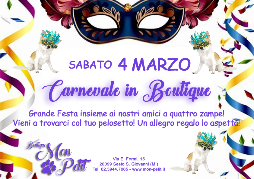 Festeggia il Carnevale da Mon Petit Boutique insieme al tuo amico a quattro zampe!