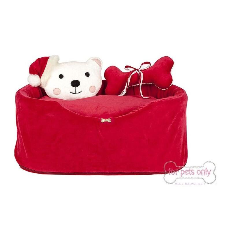 My Christmas Bear Sofa Cuccia In Ciniglia Rossa Mon Petit Boutique